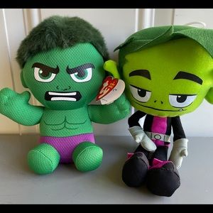 Bundle: NWT Hulk + Beast Boy Plushies